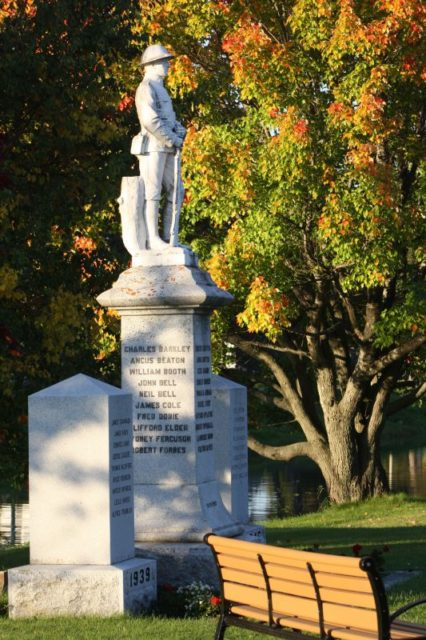 Photo Courtesy of D.B. Rankin - Thessalon's Cenotaph is located next to the Red Bridge and the Thessalon River hosting a lone soldier of the Canadian Armed Forces and remembering members of the community who fought in WW1 and WW2.